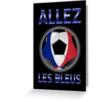 Allez Les Bleus - French Football & Text - Metallic Greeting Card