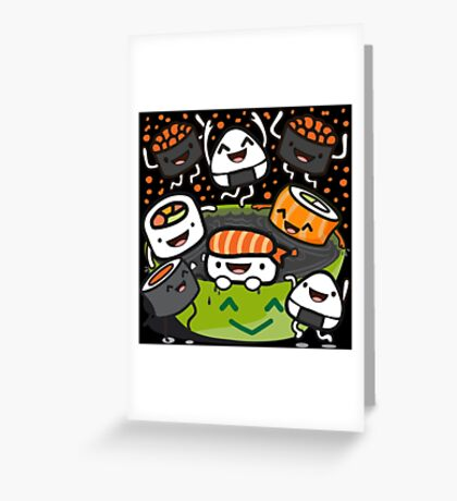 Sushi Victory (in black) Greeting Card