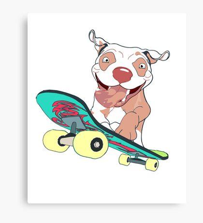 Happy Pit Bull Riding Skateboard T-Shirt Canvas Print