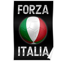 Forza Italia - Italian Flag - Football or Soccer Ball & Text 2 Poster