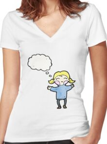 happy blond cartoon girl Women's Fitted V-Neck T-Shirt