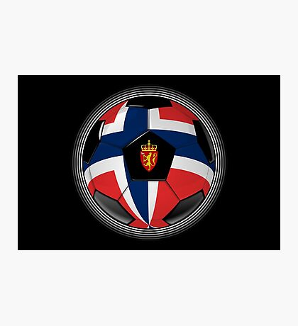 Norway - Norwegian Flag - Football or Soccer Photographic Print