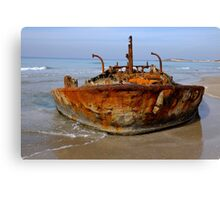 Rusty abandoned beached ship  Canvas Print