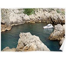 A boat in a rock cove, Croatia, Dubrovnik, the Walled Old City Poster