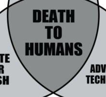 Zombie Alien Robot Venn Diagram Sticker