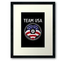Team USA - American Flag - Football or Soccer Ball & Text Framed Print