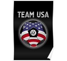 Team USA - American Flag - Football or Soccer Ball & Text Poster