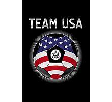Team USA - American Flag - Football or Soccer Ball & Text Photographic Print