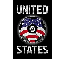 United States - American Flag - Football or Soccer Ball & Text Photographic Print