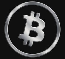 Bitcoin - Silver Metallic Coin Logo by graphix