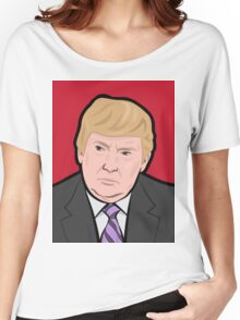 Donald Trump cartoon toon drawing funny crazy election Women's Relaxed Fit T-Shirt