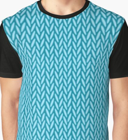 Knitted blue Graphic T-Shirt