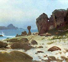 Bierstadt Albert Bay of Monterey. Vintage landscape oil painting fine art. by naturematters