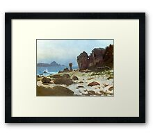 Bierstadt Albert Bay of Monterey. Vintage landscape oil painting fine art. Framed Print