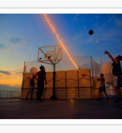 Playing Basketball in the Sunset Sticker