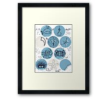 Cute Sea Animals Floating in Bubbles Framed Print