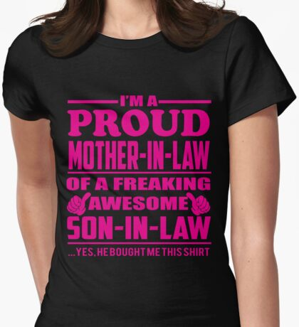 Proud Mother in Law of Awesome Son in Law Shirts and Hoodies Womens Fitted T-Shirt