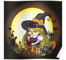 Halloween.Witch girl reading book Poster