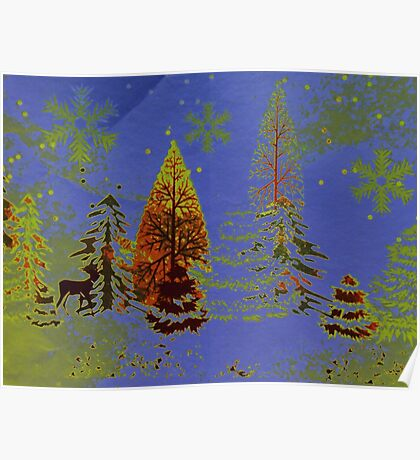 Blue Sky, Snowflakes and Trees Poster