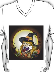 Halloween.Witch girl reading book T-Shirt
