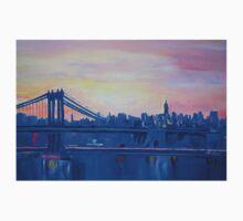 Blue Manhattan Skyline with Bridge and Vanilla Sky- T-Shirt