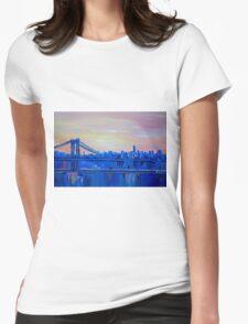 Blue Manhattan Skyline with Bridge and Vanilla Sky- Womens Fitted T-Shirt
