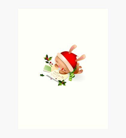 Christmas Bunny Art Print