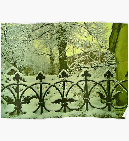 Church Railings in Snow Poster