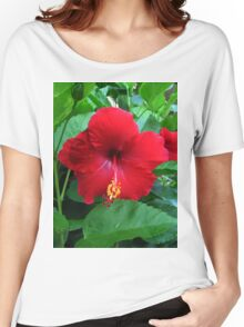 Red Hibiscus Women's Relaxed Fit T-Shirt