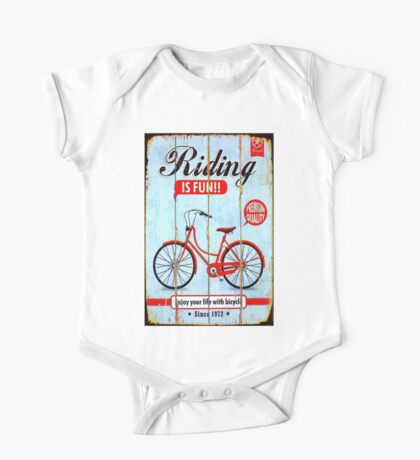 BICYCLE RIDING; Vintage Advertising Sign Print One Piece - Short Sleeve