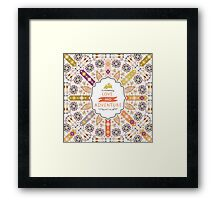 Ornamental round geometric native style pattern Framed Print