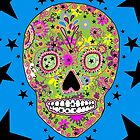 Hipster sugar skull psychedelic art by LeahG Artist