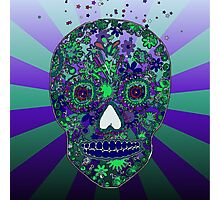 Hipster sugar skull design by LeahG  Photographic Print