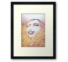 2D Face of Laughing Girl Framed Print