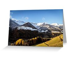 colorful sunset in the Valle Aurina Greeting Card
