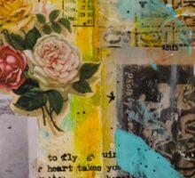 Mixed Media Painted Vintage Memories Art Sticker