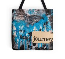 Butterfly Black and Blue Journey Mixed Media Art Tote Bag