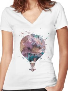 Hot Air Balloon 2 Women's Fitted V-Neck T-Shirt