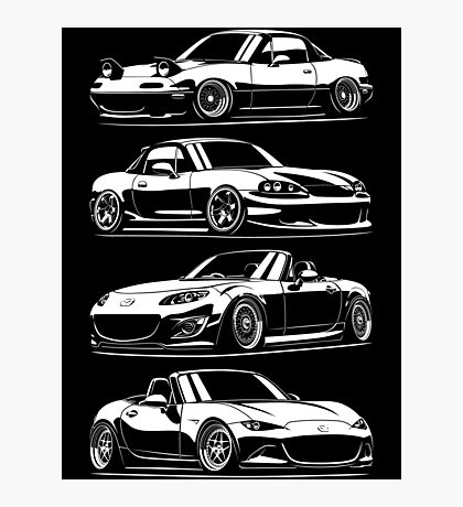 Generations. Mazda MX5 Miata Photographic Print