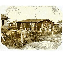 A digital painting of shacks in St. Petersburg, Sterling, Colorado in 1915 Photographic Print