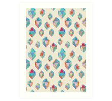 Floating Gems - a pattern of painted polygonal shapes Art Print