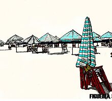 Figueira da Foz - Beach Umbrellas  by Paul  Nelson-Esch