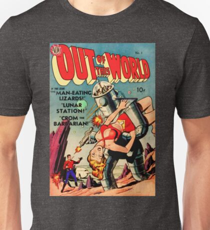 "RETRO sci-fi comic ""That Robot Is Stealing My Girl!"" Unisex T-Shirt"
