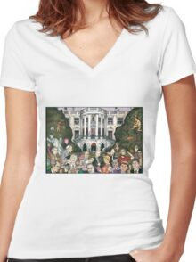 Us presidents at the white house Women's Fitted V-Neck T-Shirt