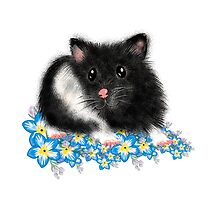 Cute black and white Syrian Hamster Art by LeahG by Cartoonistlg