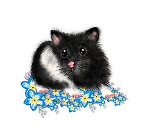 Cute black and white Syrian Hamster Art by LeahG Photographic Print