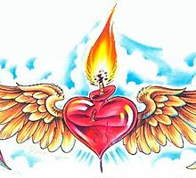 flaming heart on the wings of love by Koalka
