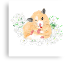 Funny Furry Golden Syrian Hamster by LeahG Canvas Print