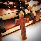 Wooden Cross and Rosary by Ed Sweetman
