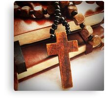 Wooden Cross and Rosary Canvas Print